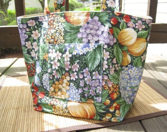Cotton Fabric Tote Bag /Colorful Fruit Print / Lunch Bag / Knitting Project Needlework / Carry All Grocery Shopping