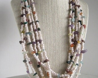 Gemstone Mecklace / Multiple Strand Necklace / Summer Tribal Ethnic Inspired / Beadwork Multi Strand