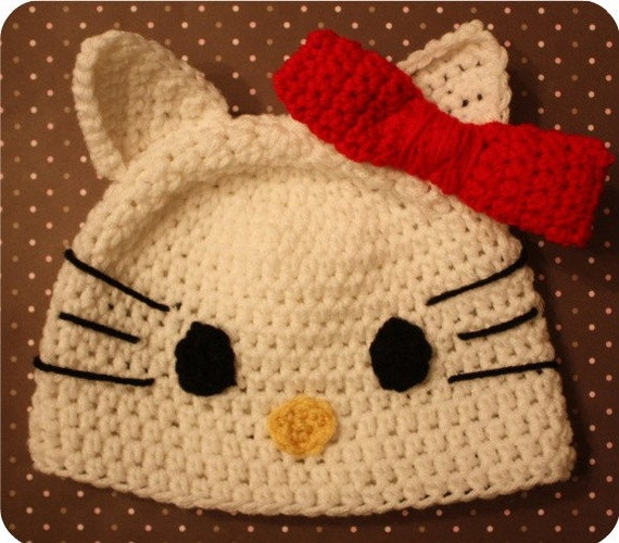Hello Kitty Inspired Hat (Crochet Pattern) - Size 6 months to Adult Woman