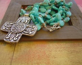 Turquoise Mangnesite Stamped Cross Necklace