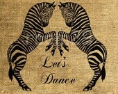 INSTANT DOWNLOAD - Two Zebras Dancing Vintage Illustration - Download and Print - Image Transfer - Digital Sheet by Room29 - Sheet no. 271
