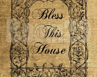 INSTANT DOWNLOAD Bless This House in a Vintage Frame - Scrapbooking - Image Transfer - Digital Collage Sheet by Room29 Sheet no. 405