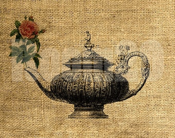 INSTANT DOWNLOAD Tea Pot and a Rose - Download and Print - Image Transfer - Digital Collage Sheet by Room29 - Sheet no. 438