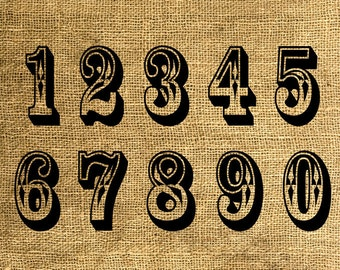 INSTANT DOWNLOAD Big Numbers 0 to 9 - Download and Print - Image Transfer - Digital Sheet by Room29 - Sheet no. 385