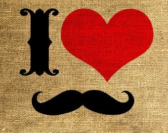 INSTANT DOWNLOAD I Love Moustache - Download and Print - Image Transfer - Digital Collage Sheet by Room29 - Sheet no. 570