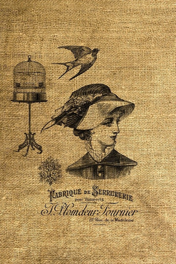 INSTANT DOWNLOAD Woman in a Hat Vintage French Ad - Download and Print Image Transfer Digital Sheet by Room29 Sheet no. 288