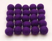 Felt Balls- 25 count 2cm Wool Felt Balls- Royal Purple