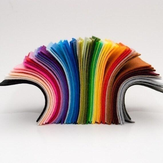 100 Percent Wool Felt- Small Size Sample Pack- 52 Colors