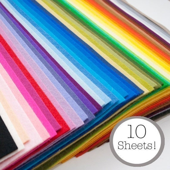 100% Wool Felt- 10 Sheets- Your Choice of Colors