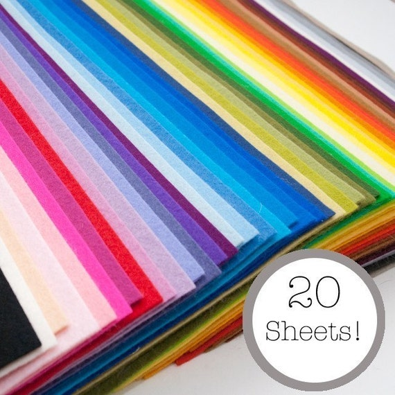 100 Percent Pure Wool Felt- 20 Sheets - Your Choice of Colors