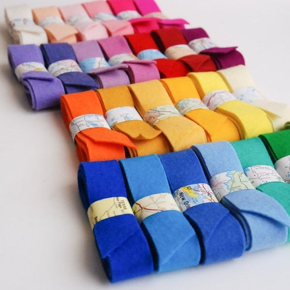 100 Percent Wool Felt Ribbon- 5 Ribbons- Choose Your Own Colors