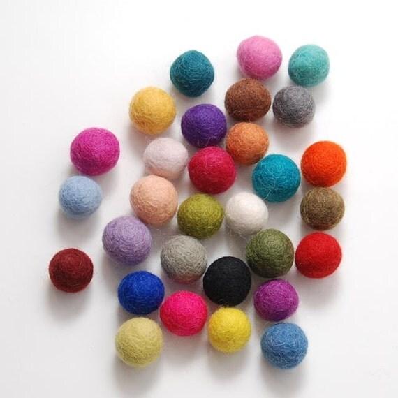 Felt Balls- 30 count 2cm-2.5cm Wool Felt Ball Mix