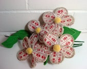 Vintage Fabric Flowers Pom Pom Centers