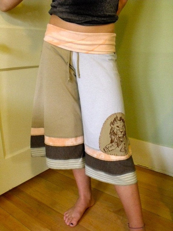 wide leg yoga fit GAUCHO pants upcycled knit jersey by zasra