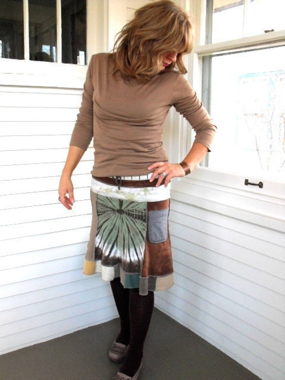 Upcycled Clothing, Eco short  patchwork boho SKIRT with  pocket, repurposed  jersey,  earthy , green and brown mix, size S, by Zasra