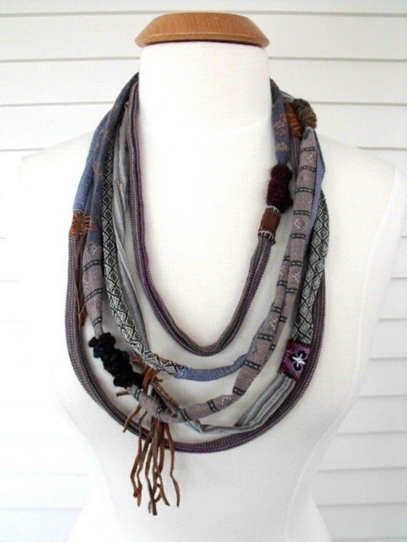 Upcycled  artisan NECKLACE, eco infinity , recycled woven cottons , multi textures, patchwork, funky, leather fringe,  by Zasra