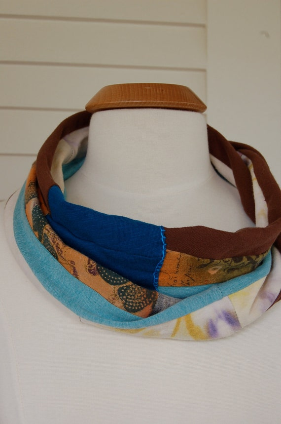 infinity SCARF,  color block,  upcycled, recycled,  lightweight jersey cotton, blue & brown mix Eco ,by Zasra