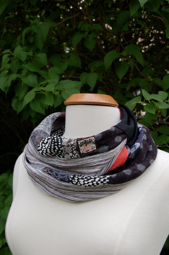 infinity SCARF, Upcycled,  abstract patchwork, lightweight jersey cotton, Eco , repurposed, black mix,  Zasra