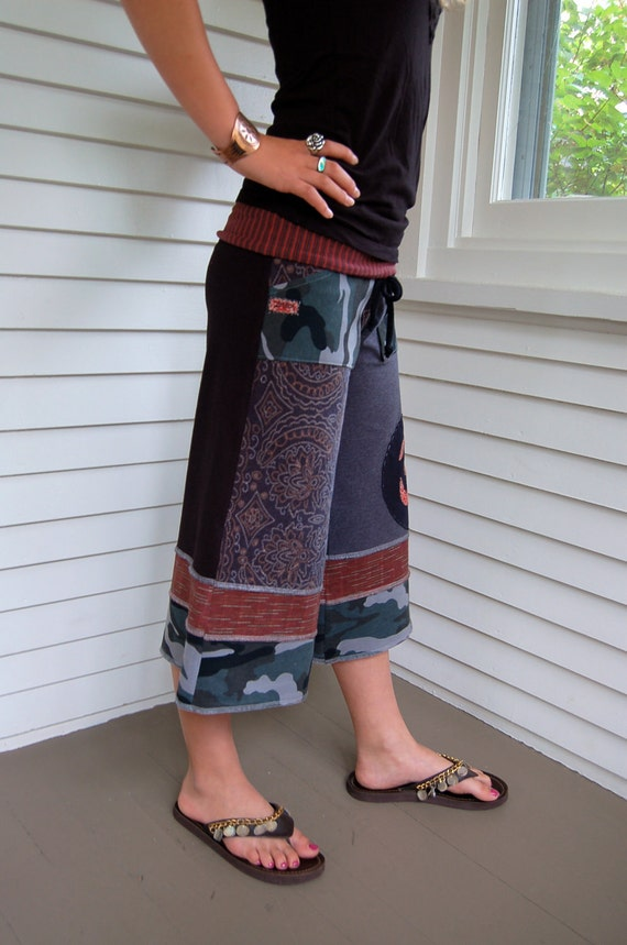 Patchwork Eco Gaucho PANTS, upcycled, clothing, cropped,  jersey, yoga, pockets, black, gray & red mix,  Om applique, size XS, by Zasra