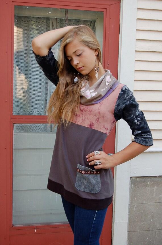 Eco  Tunic shirt, baby doll, cowl ,Upcycled Clothing, boho, hippie, shabby chic, mauve gray tie dye mix, pocket applique, sizeS/ M, by Zasr