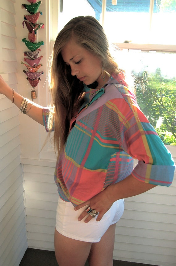 SHIRT, vintage clothing, summer plaid, triangle collar, muted bright mix,  3/4 length  sleeve,  size L