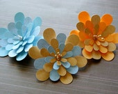 Paper Flower Hair Clips Pale Oranges and Blues Three to Choose From