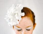 30% OFF SALE - Soft White Flower & Feather Fascinator Headpiece