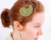 SALE - Olive Paisley - Hand Stitching, Beading & Birdcage Veil Overlay -  Hair Clip