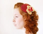 SALE - Black Cherry Wine & Chartreuse Orchid Fascinator - Birdcage Overlay - Spring 2012