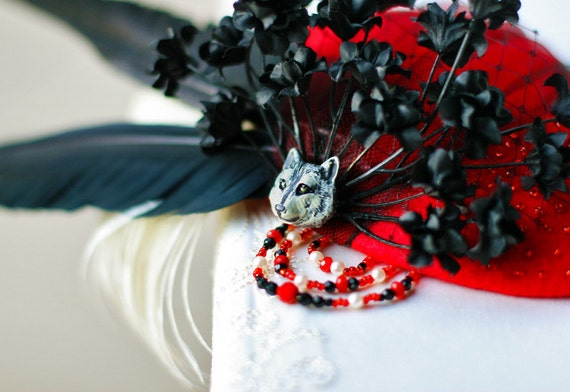 CLEARANCE - Red and the Wolf Teardrop Fascinator - 50% OFF SALE