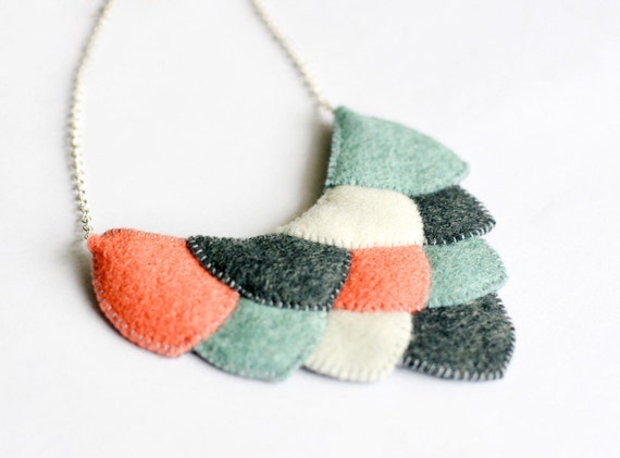 SALE - Whimsical Hand Stitched Fish Scale Necklace / Coral, Mint, Slate Grey, & Ivory / OOAK Original DesignDesign / 17.5""