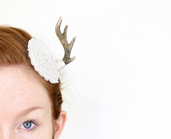 White Lace Mini Antler Masquerade Fascinator - OOAK