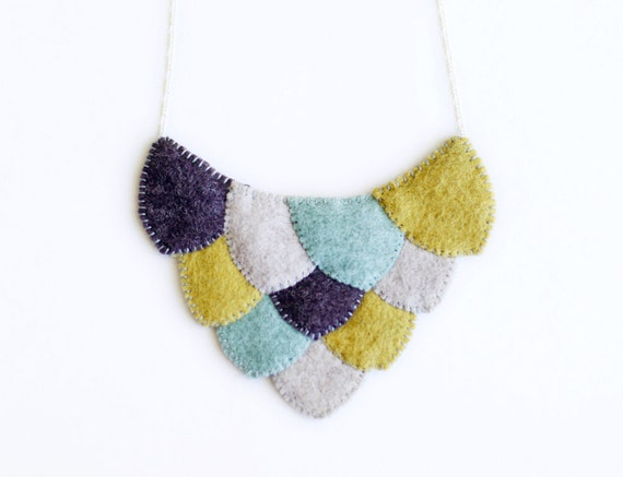 Reserved for Sylwia - Scale Necklace in Eggplant, Mint, Heather, and Dijon