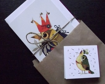 package of 6 bird cards
