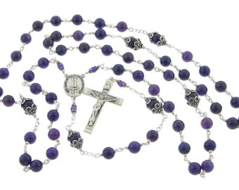 Our Lady of Fatima Sterling Silver Amethyst Rosary