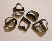 5 Vintage Tin Cookie Cutters