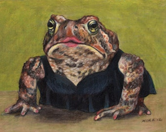 "Art Print - ""Little Black Dress"" Toad   Matted 7x5"" Giclee print ready to frame"