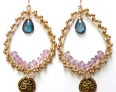 Padma & Pickles Jewelry: Made in Hawaii Ohm / om chandelier lotus earrings yoga teardrop