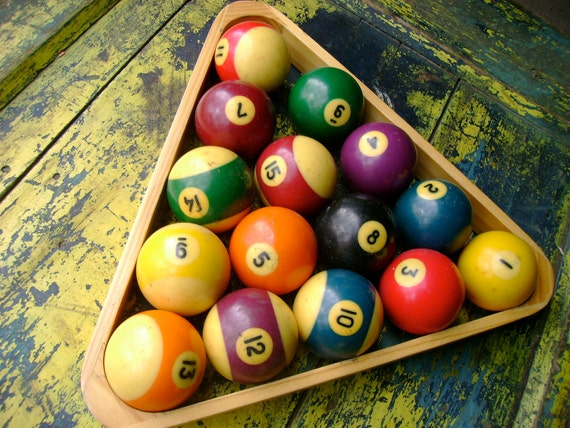 vintage pool balls, triangle set