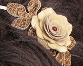 Flower leather headband fascinator, champagne yellow rose, brown leaves on cream metal hairband prom wearable art