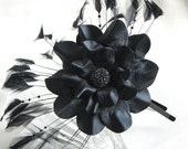 Flower leather headband fascinator, black flower and feathers on skinny metal hairband Victorian steampunk 3 year anniversary gift