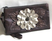 Brown Leather Wristlet With White Gold Flower and Metallic  Leaves