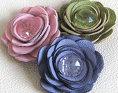4 handmade leather roses, lime green/pastel pink/purple/cream, reserved for Erica