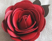 Flower leather pin, red rose with olive green leaves 3 year anniversary gift