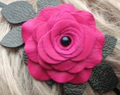 Flower leather headband fascinator, hot pink rose, black leaves on skinny metal hairband 3 year anniversary gift