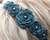 Teal flower headband leather roses on black metal hairband, tiara, crown woodland wedding 3 year anniversary gift prom wearable art