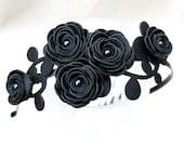 Bridal headband black headband flower headband leather rose Gothic wedding hairband floral hair accessory prom wearable art