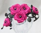 Fuchsia flower headband leather hot pink roses black leaves bridal hairband woodland wedding floral hairpiece
