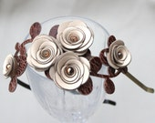 Cream flower headband leather roses brown leaves bridal hairpiece woodland wedding floral hair accessory shabby chic