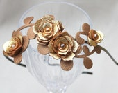 Gold flower headband leather gardenias bronze brown leaves bridal hairband woodland wedding hair accessory